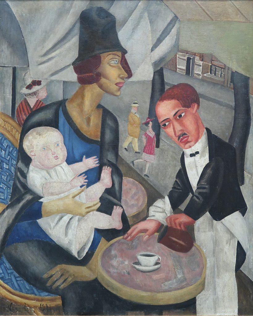Le café de la Rotonde (autoportrait), 1921, huile sur toile signée et datée en bas à gauche.